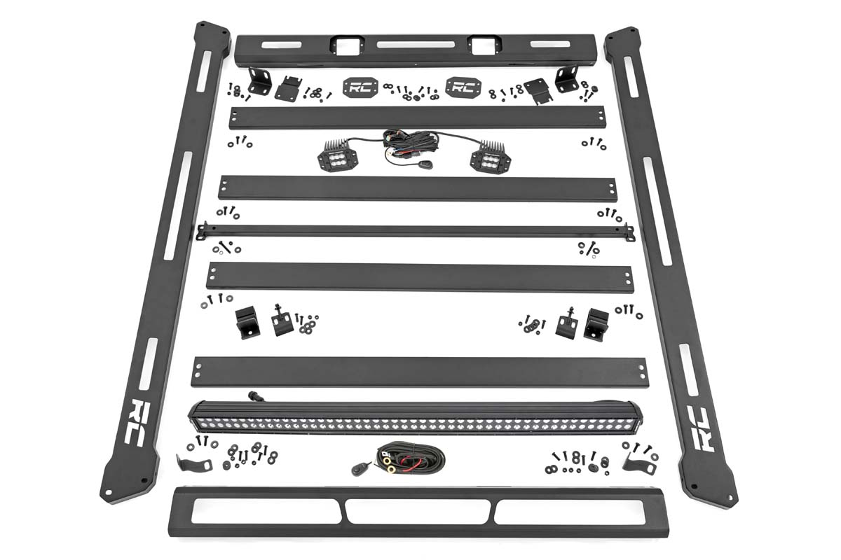 Rough Country Roof Rack System w/ Black-Series LED Lights - JL