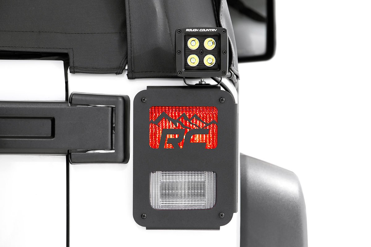 Rough Country Mountain Design Tail Light Covers, Pair - JK