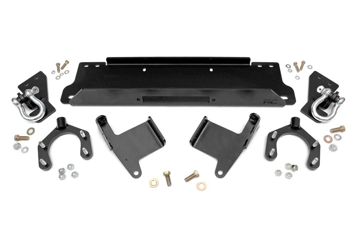 Rough Country Factory Bumper Winch Plate w/ D-Rings - JK