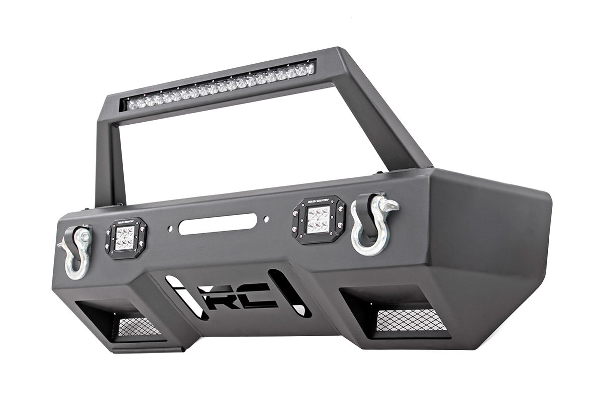 Rough Country Front Stubby Bumper w/ Chrome Series Lights - JK