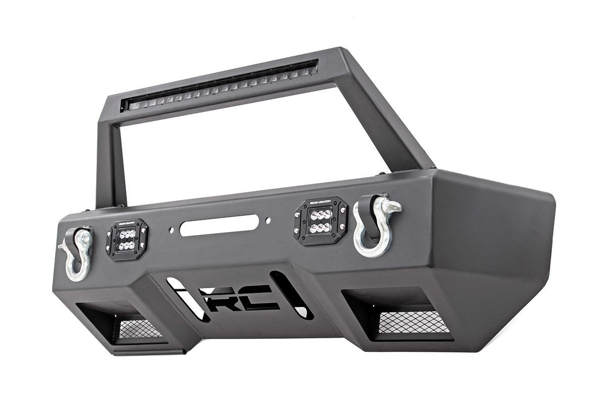 Rough Country Front Stubby Bumper w/ Black Series Lights - JK