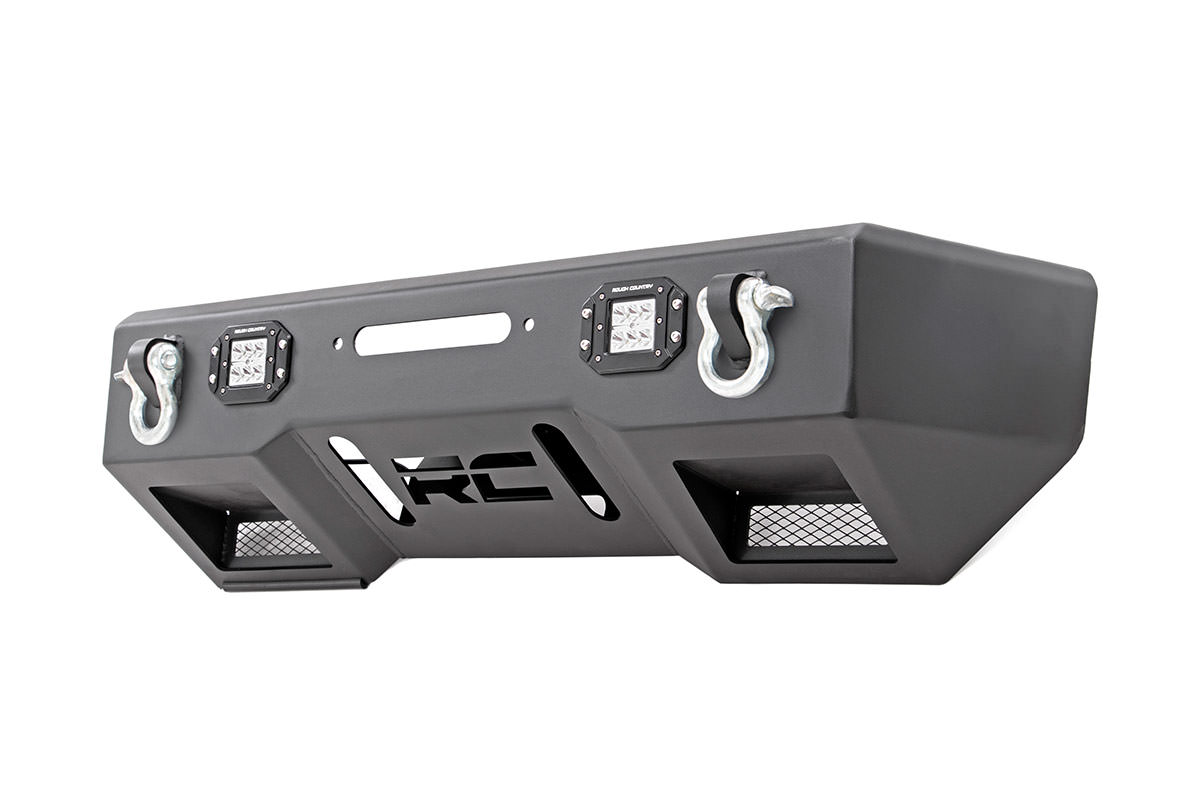 Rough Country Front Stubby Bumper w/Chrome Series Lights - JK