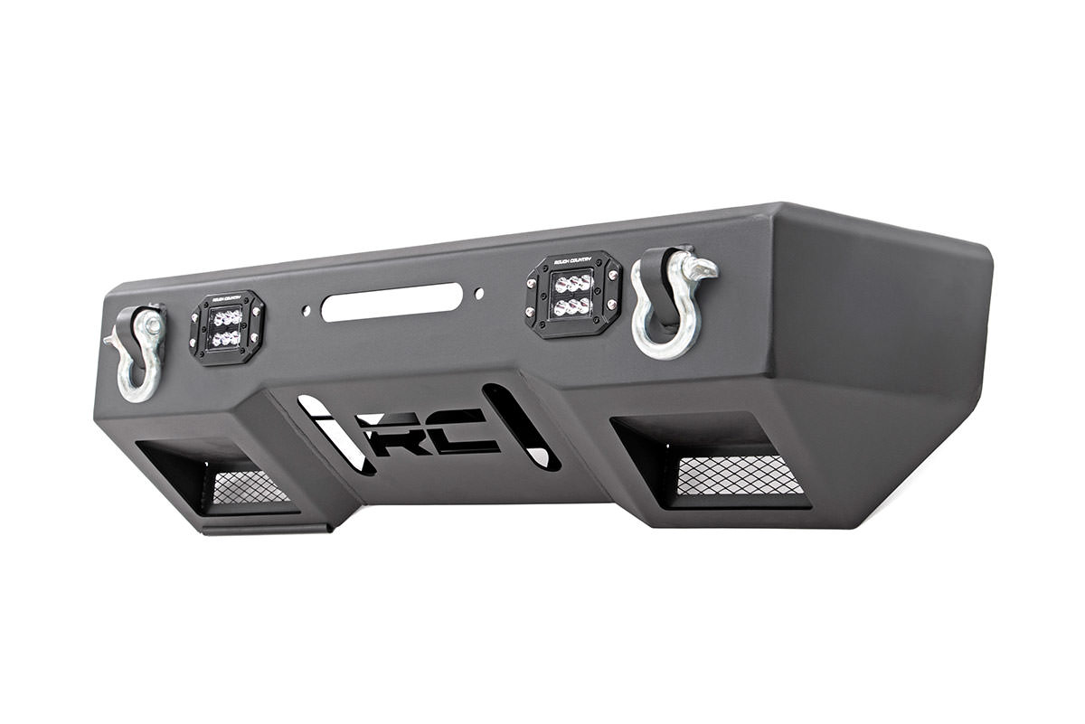 Rough Country Front Stubby Bumper w/Black Series Lights - JK