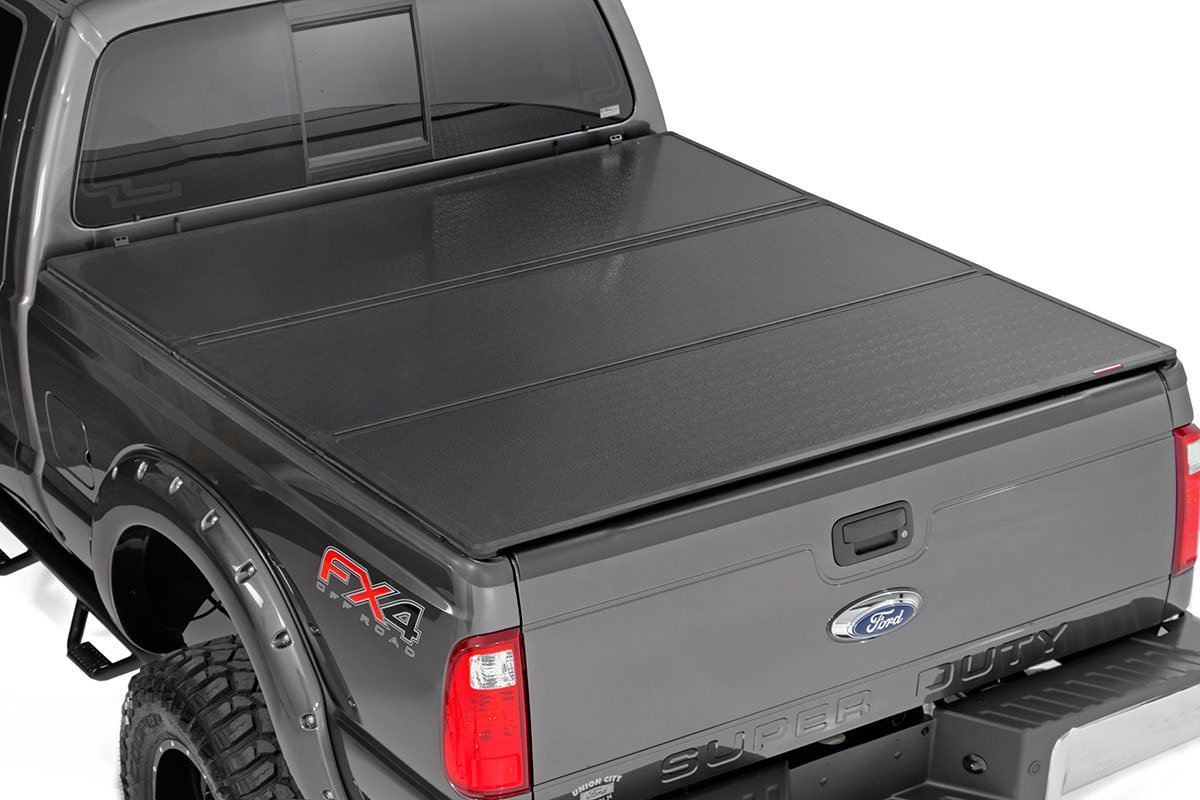 Rough Country Hard Tri-Fold Bed Cover, 6.5ft Bed w/o Cargo Mgmt - F-250/350 99-2016