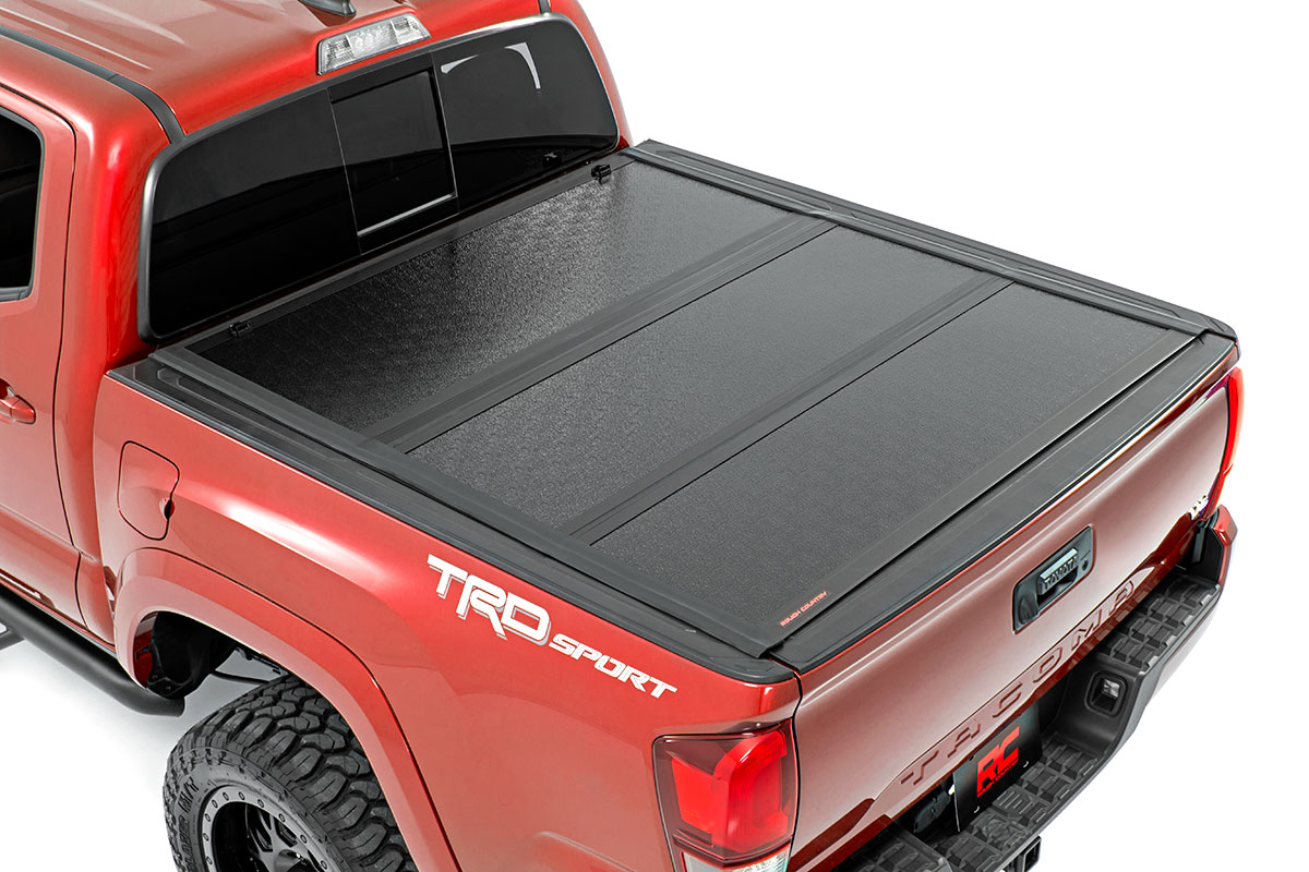 Rough Country Low Profile Hard Tri-Fold Tonneau Cover, 6ft Bed - Tacoma 2016-21