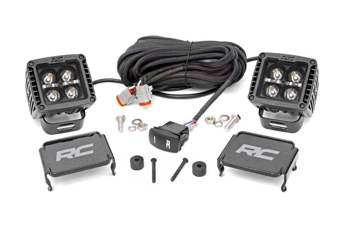 Rough Country 2in Black Series LED Cube Easy-Mount Kit - White DRL - JT/JL