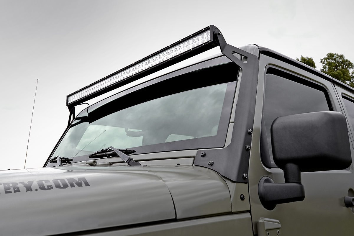 Rough Country 50in Light Bar Windshield Mounting Brackets - JK