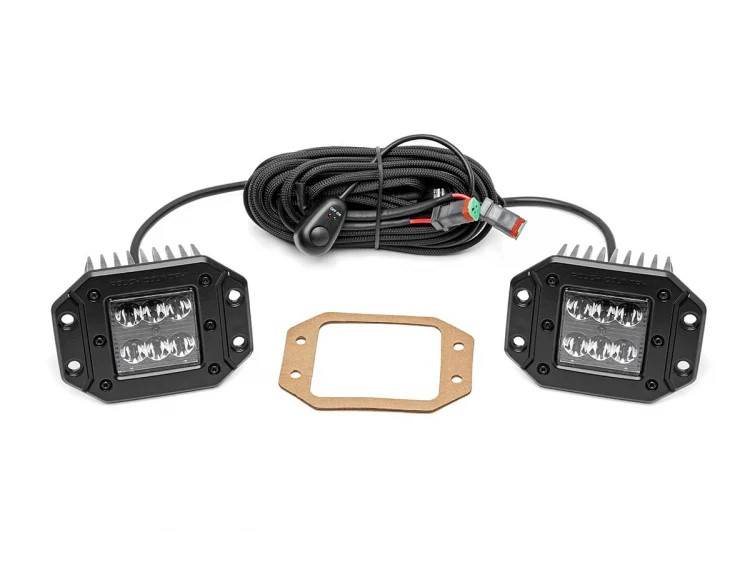 Rough Country 2in Flush Mount Black Series Square Lights
