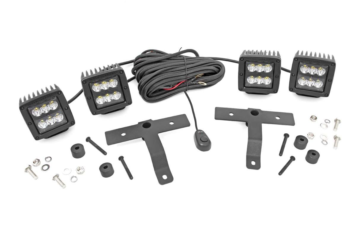 Rough Country Black Series Quad LED Light Pod Kit - JT/JL