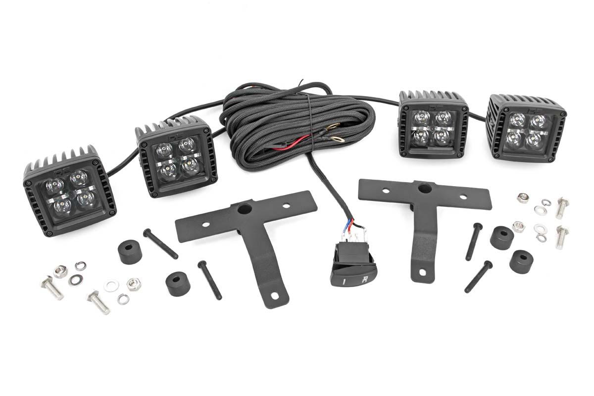 Rough Country Black Series Quad LED Light Pod Kit - White DRL  - JT/JL