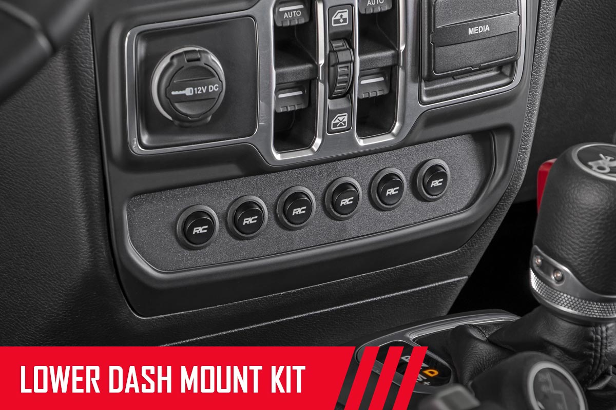Rough Country MLC-6 Multiple Light Controller Mount Kit - Lower Dash - JT/JL Non-Rubicon