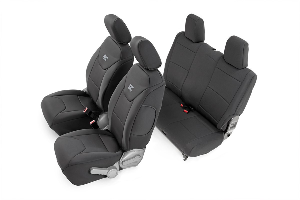 Rough Country Neoprene Seat Cover Set Black - JK 2dr 2007-10