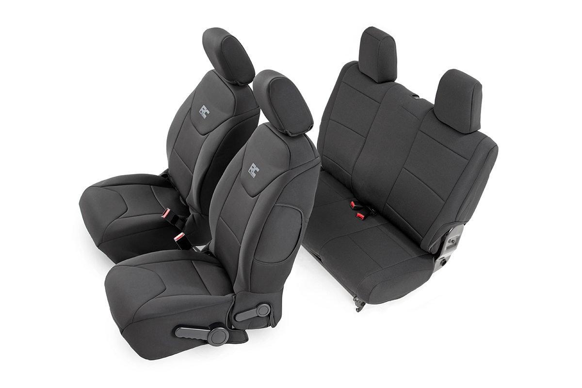 Rough Country Neoprene Seat Cover Set Black - JK 2dr 2013-17