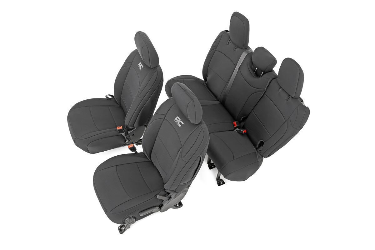 Rough Country Neoprene Seat Cover Set, w/o Armrest, Black - JL 4dr