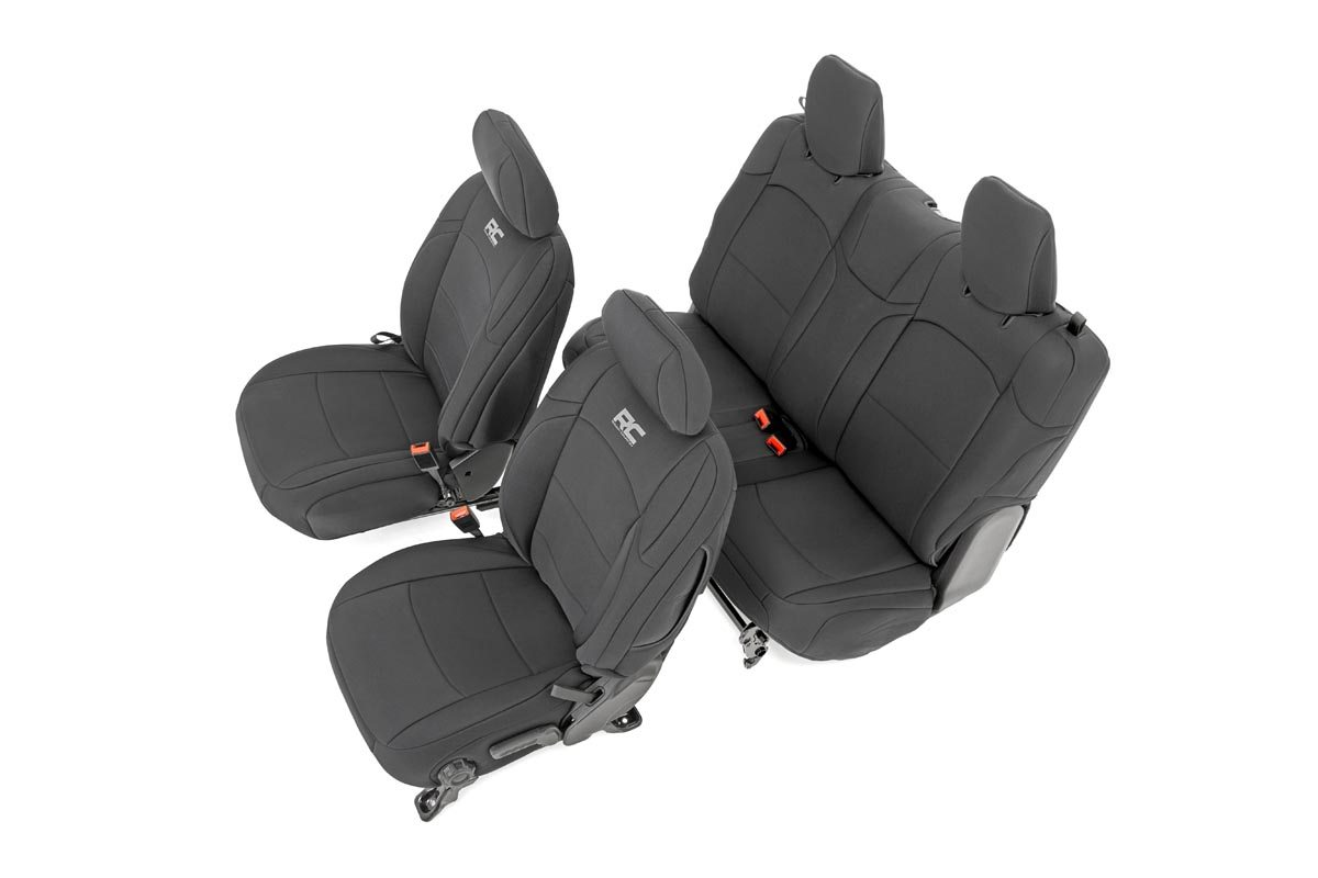 Rough Country Neoprene Seat Cover Set, Black  - JL 2Dr