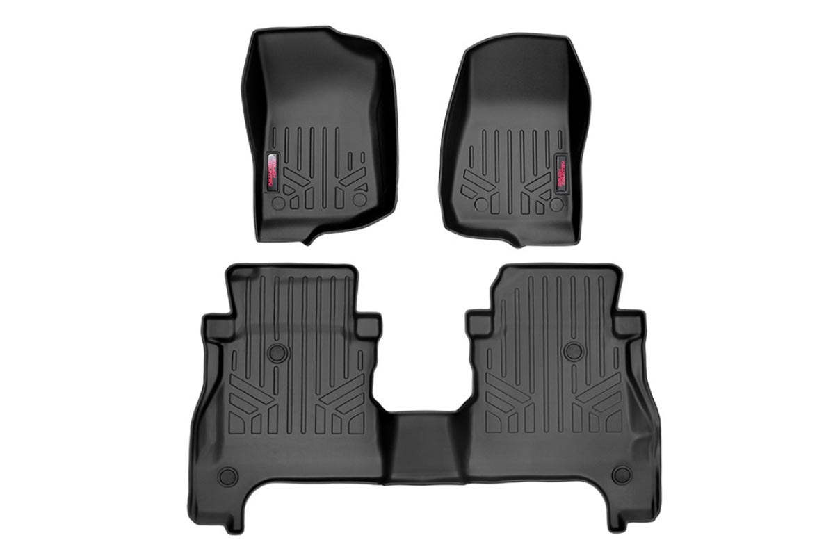 Rough Country Front and Rear Heavy Duty Floor Mats w/o Under Seat Lockable Storage - JT