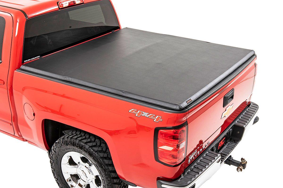 Rough Country Soft Tri-Fold Bed Cover, 6x5 Bed w/o Cargo Mgmt - Silverado/Sierra 1500/2500/3500 PU 2007-14