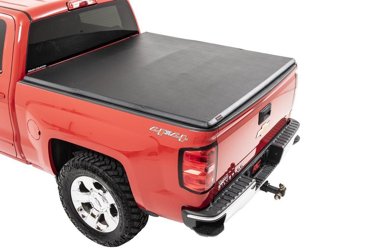 Rough Country Soft Tri-Fold Bed Cover, 6x5 Bed w/o Cargo Mgmt - Silverado/Sierra 1500 2014-18