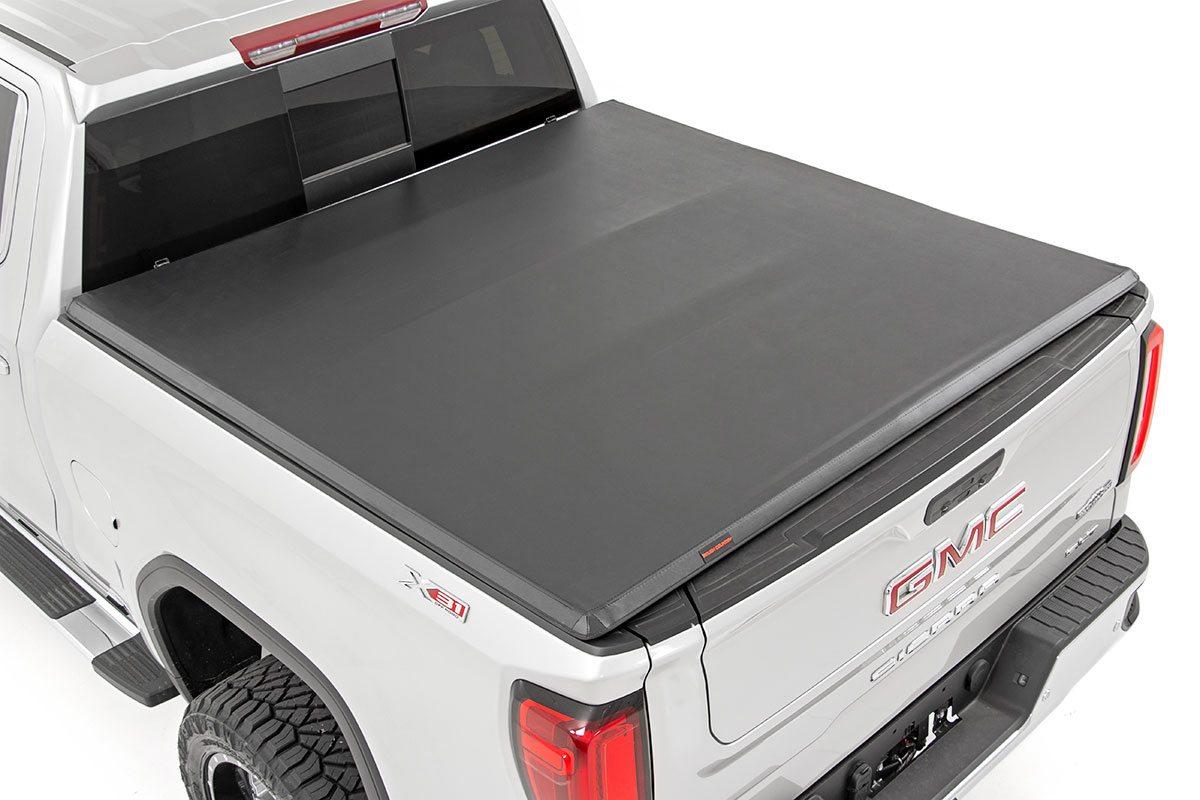 Rough Country Soft Tri-Fold Bed Cover, 6x6 Bed w/o Cargo Mgmt - Silverado/Sierra 1500 2019-21