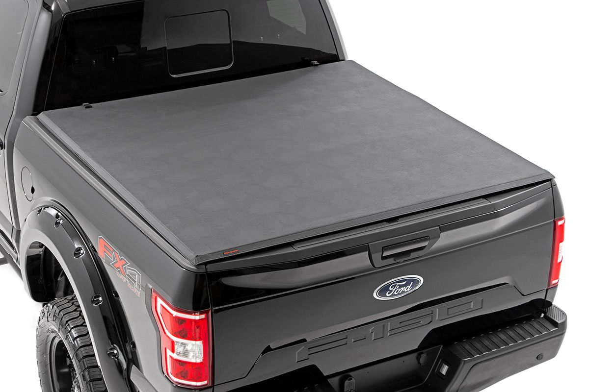 Rough Country Soft Tri-Fold Bed Cover, 6x5 Bed w/o Cargo Mgmt - F-150 2009-14
