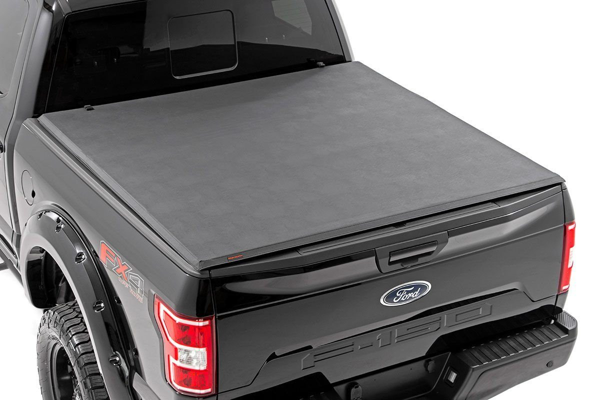 Rough Country Soft Tri-Fold Bed Cover, 6x5 Bed w/o Cargo Mgmt - F-150 2015-21