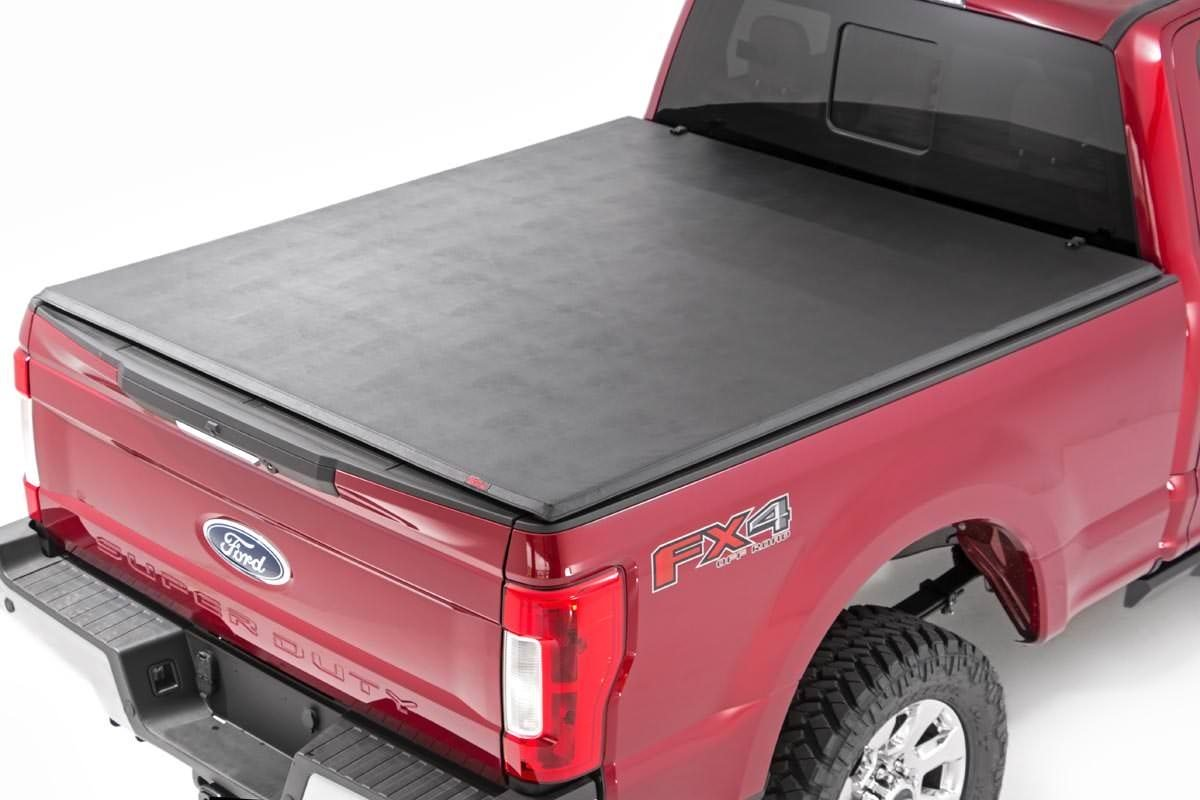 Rough Country Soft Tri-Fold Bed Cover, 6x5 Bed w/o Cargo Mgmt - F-250/350 99-16