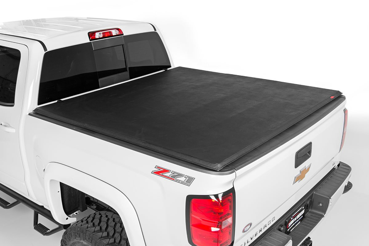 Rough Country Soft Tri-Fold Bed Cover, 5ft Bed w/ Cargo Mgmt - Toyota 2005-15