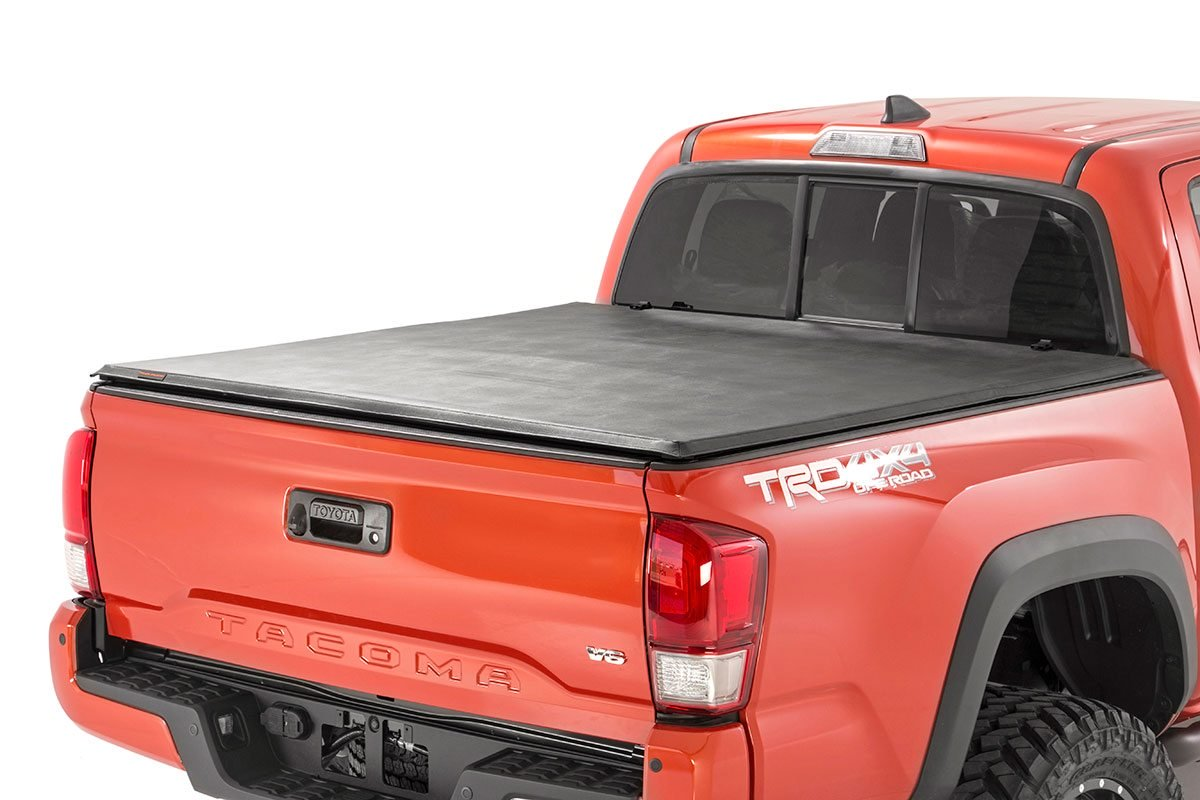 Rough Country Soft Tri-Fold Bed Cover, 5ft Bed w/Cargo Mgmt - Tacoma 2016-21