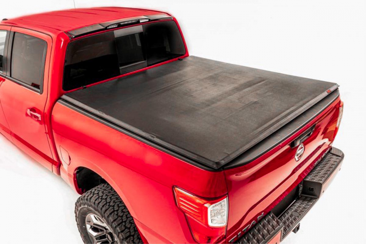 Rough Country Soft Tri-Fold Bed Cover, 5x6 Bed w/o Cargo Mgmt - Titan 2017-21