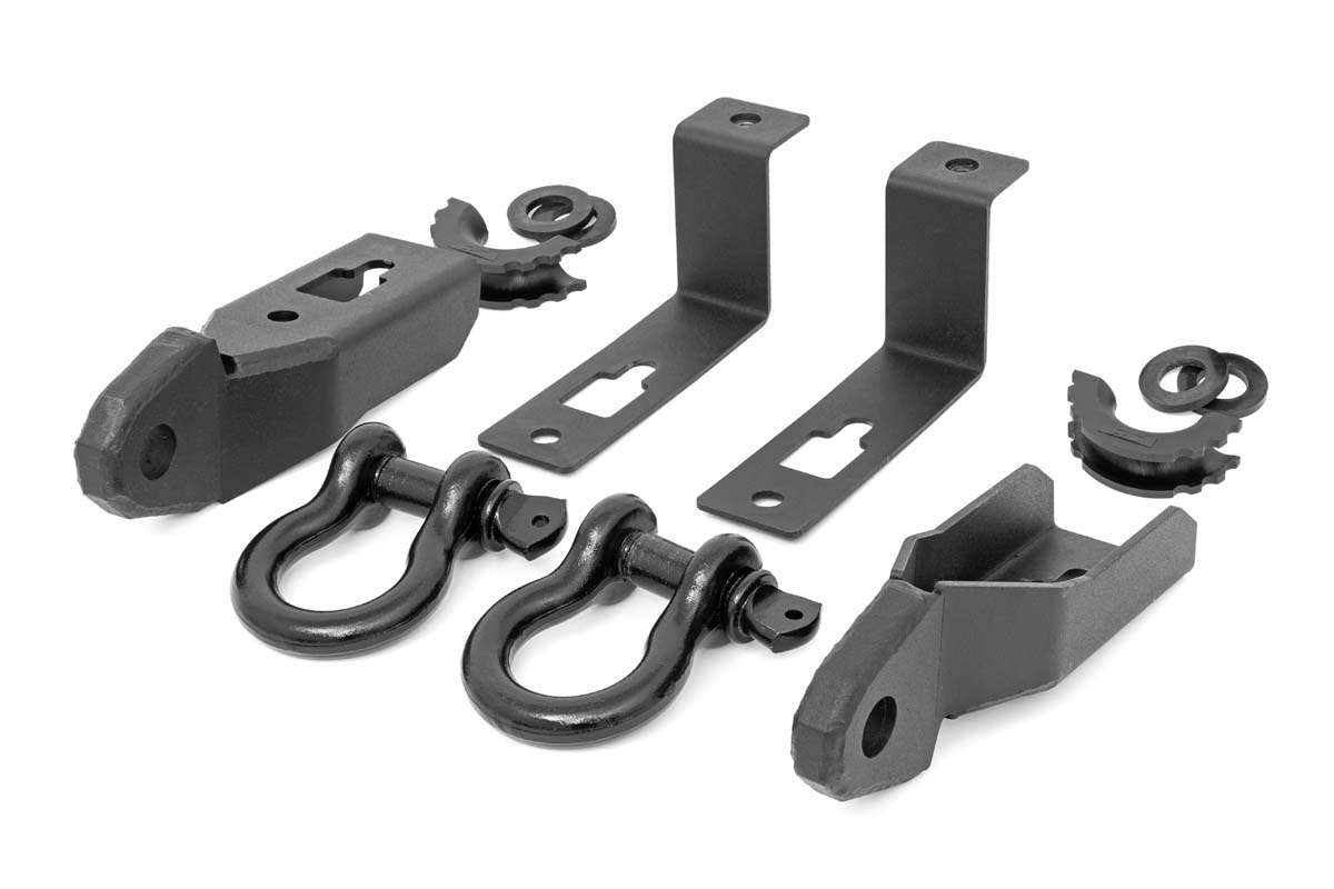 Rough Country Tow Hook to Shackle Conversion Kit Mounts & Standard D-Rings - Ford Ranger 2019-21