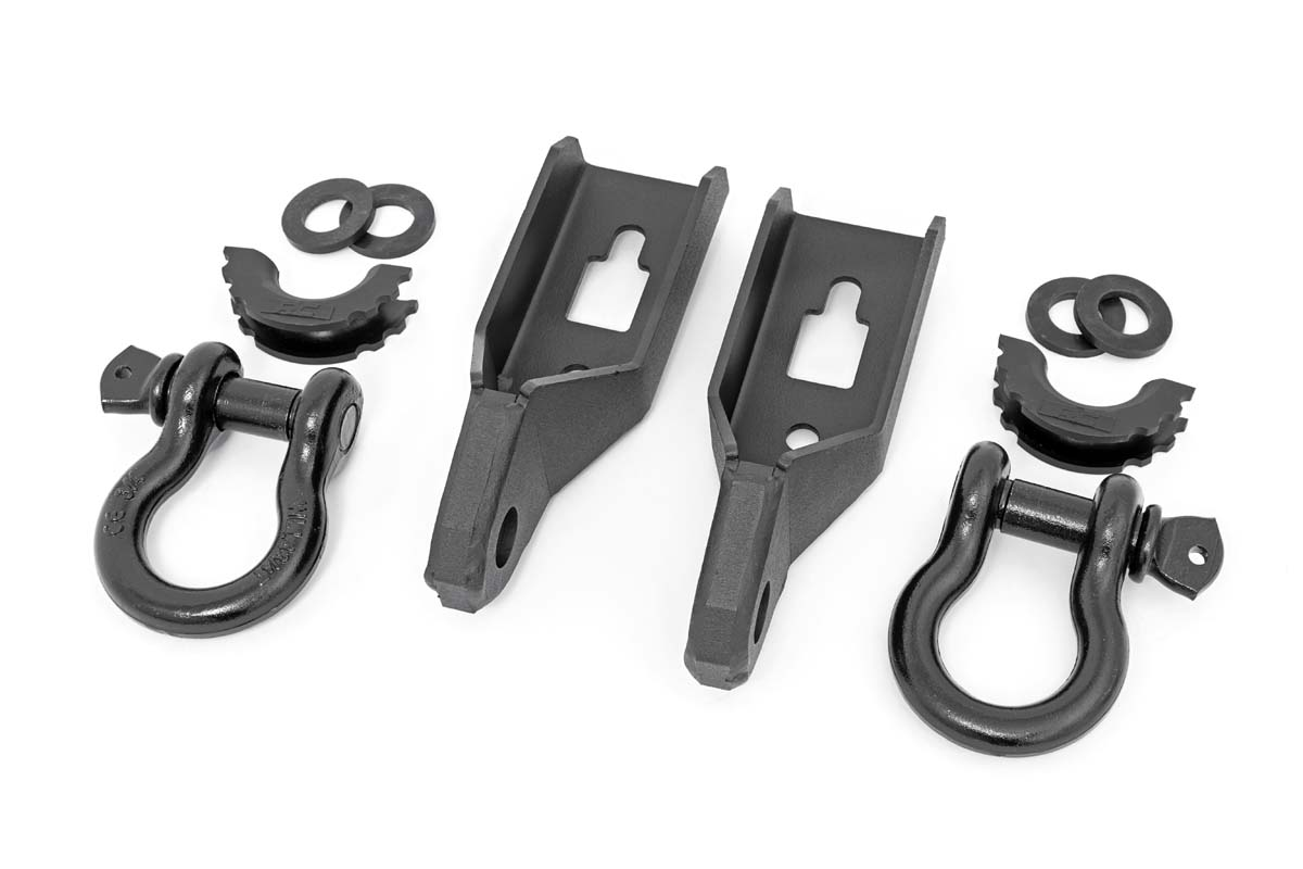 Rough Country Tow Hook to Shackle Conversion Kit w/D-Ring & Rubber Isolators - F-150 2009-20