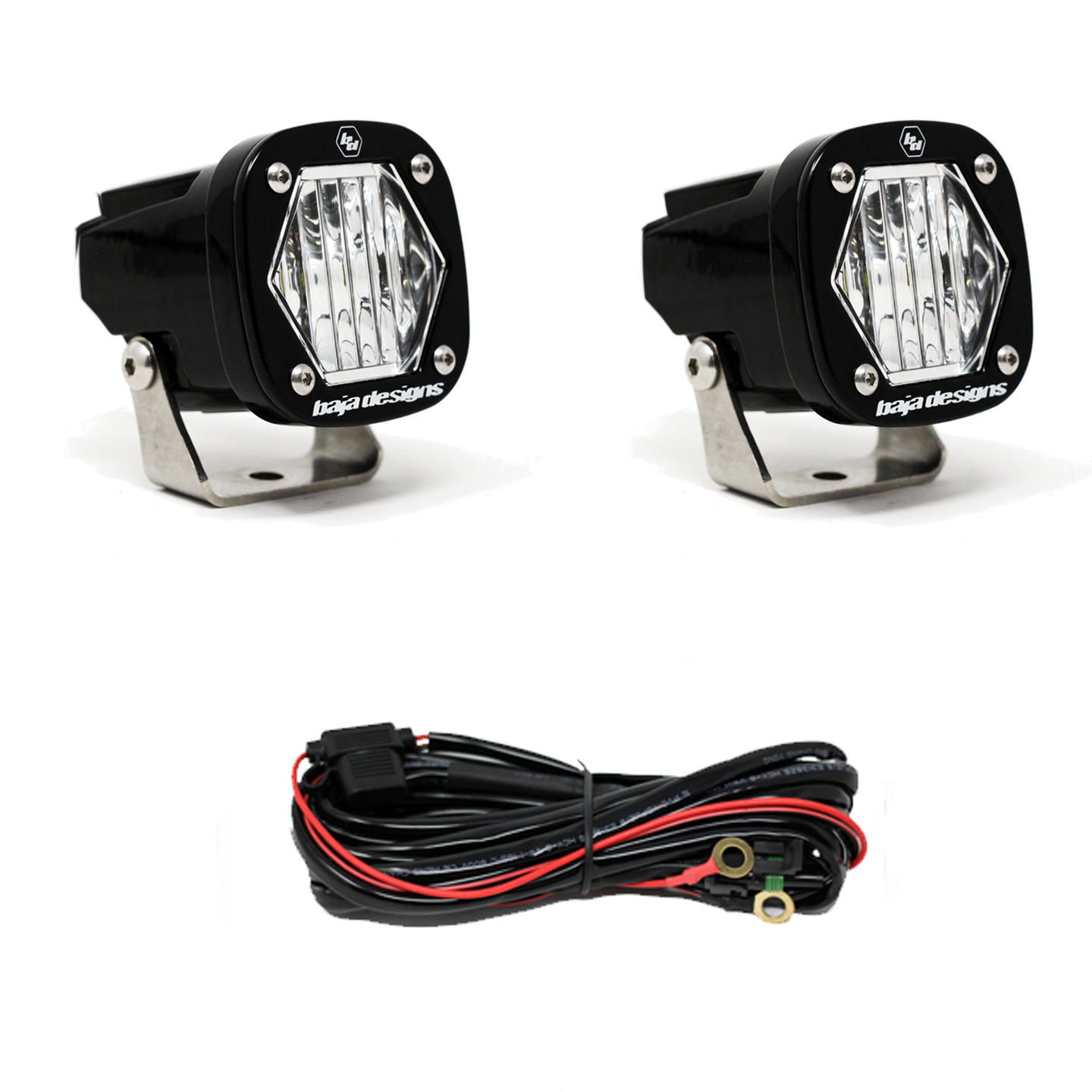 Baja Designs S1 Wide Cornering LED Light with Mounting Bracket Pair