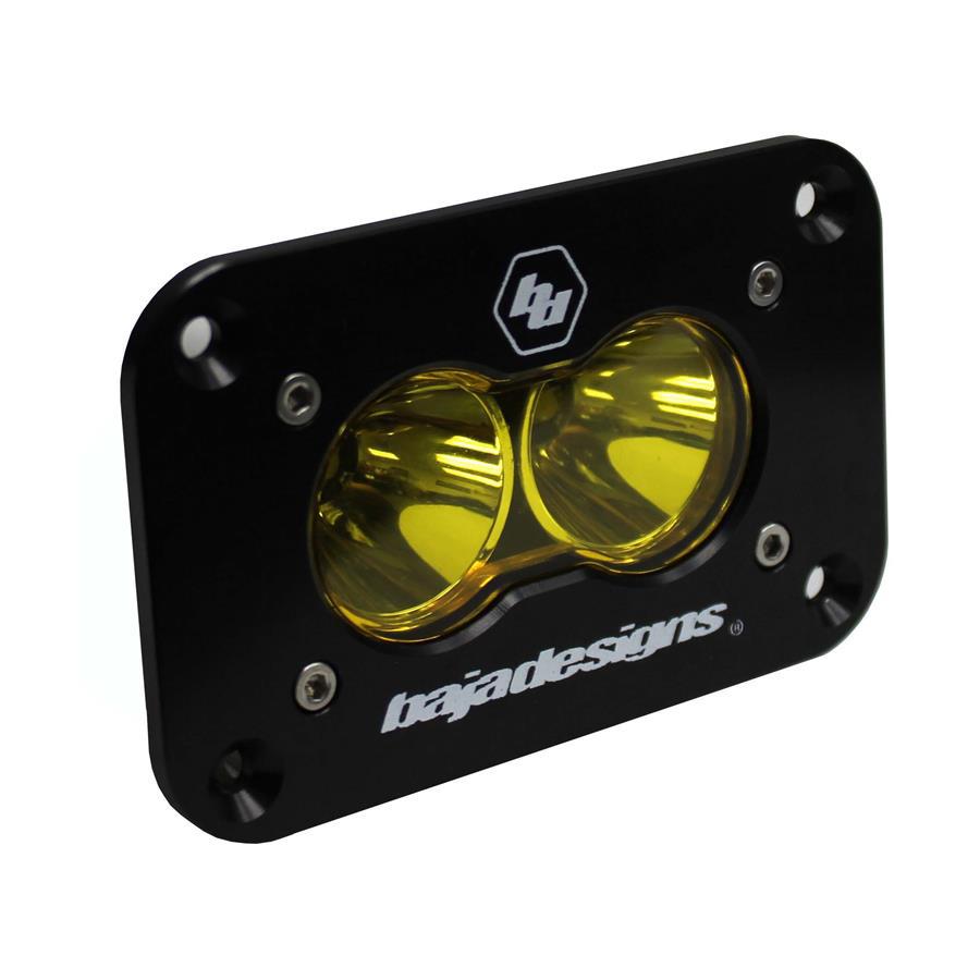 541016 Baja Designs LED Work Light Amber Lens Work/Scene Pattern Flush Mount Each S2 Sport Each Black