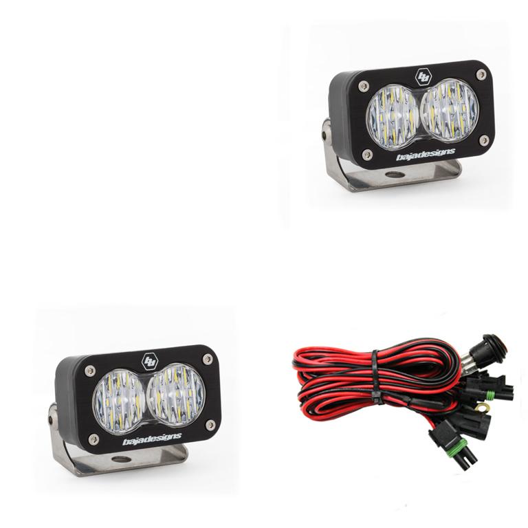 547805 Baja Designs LED Work Light Clear Lens Wide Cornering Pattern Pair S2 Sport Pair Black