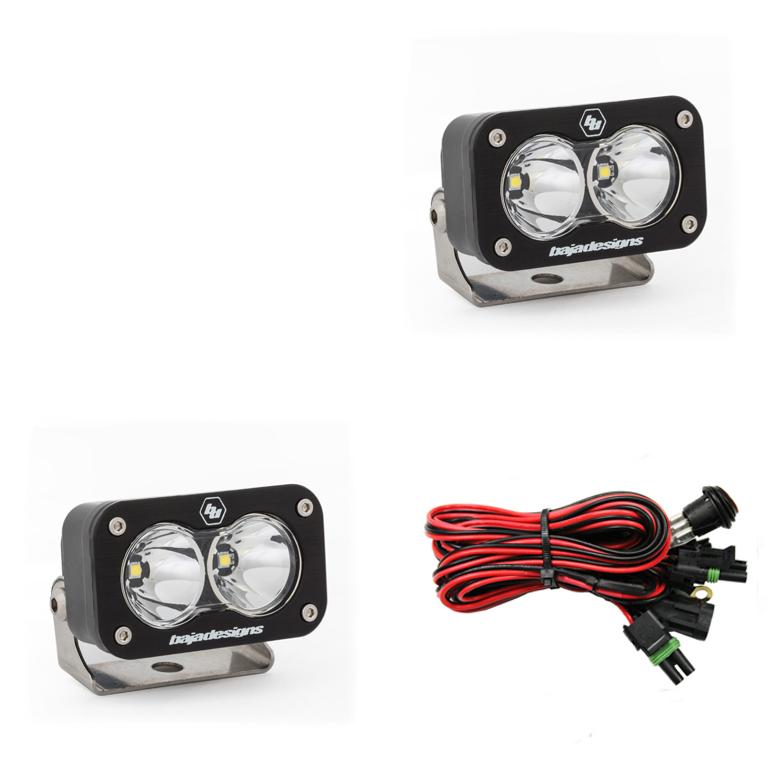 547806 Baja Designs LED Work Light Clear Lens Work/Scene Pattern Pair S2 Sport Pair Black