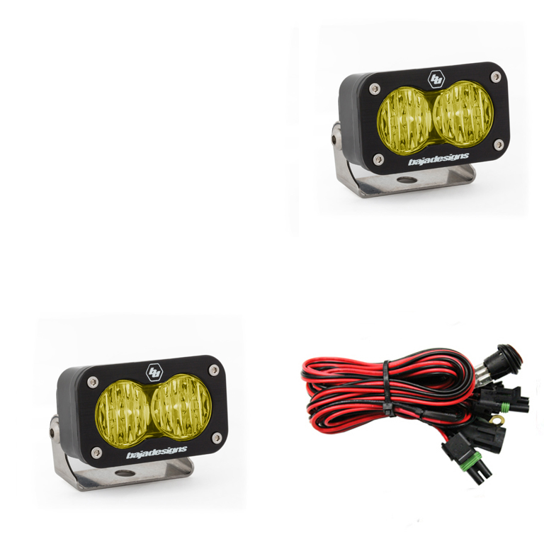 547815 Baja Designs LED Work Light Amber Lens Wide Cornering Pattern Pair S2 Sport Pair Black