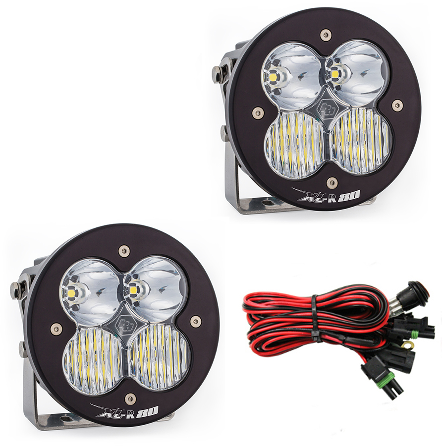 767803 Baja Designs LED Light Pods Driving Combo Pattern Pair XL R 80 Series Pair Black