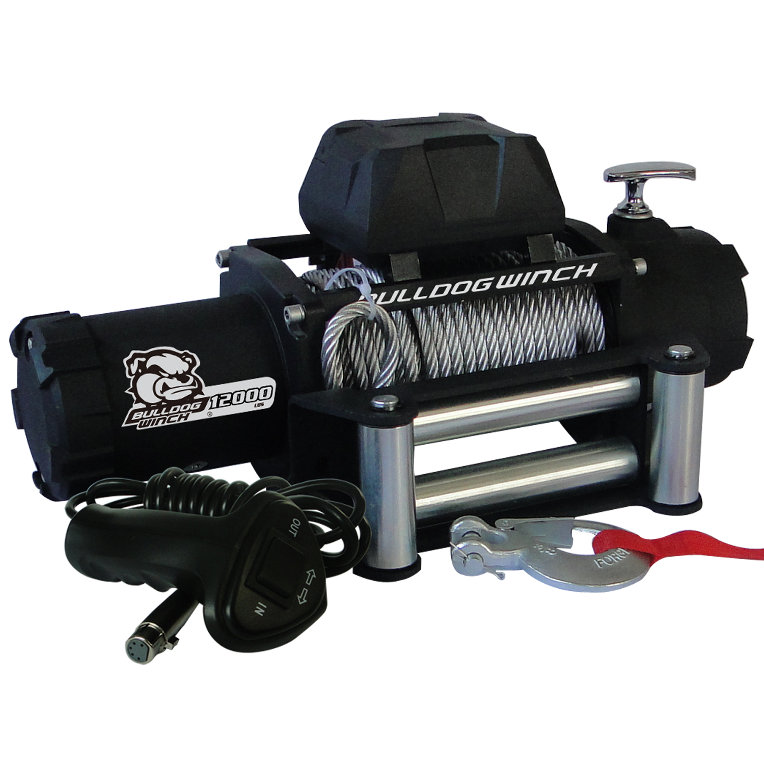 12,00 LB Winch 100 Ft Wire Rope 6.0hp Series Wound Motor Roller Fairlead Bulldog Winch
