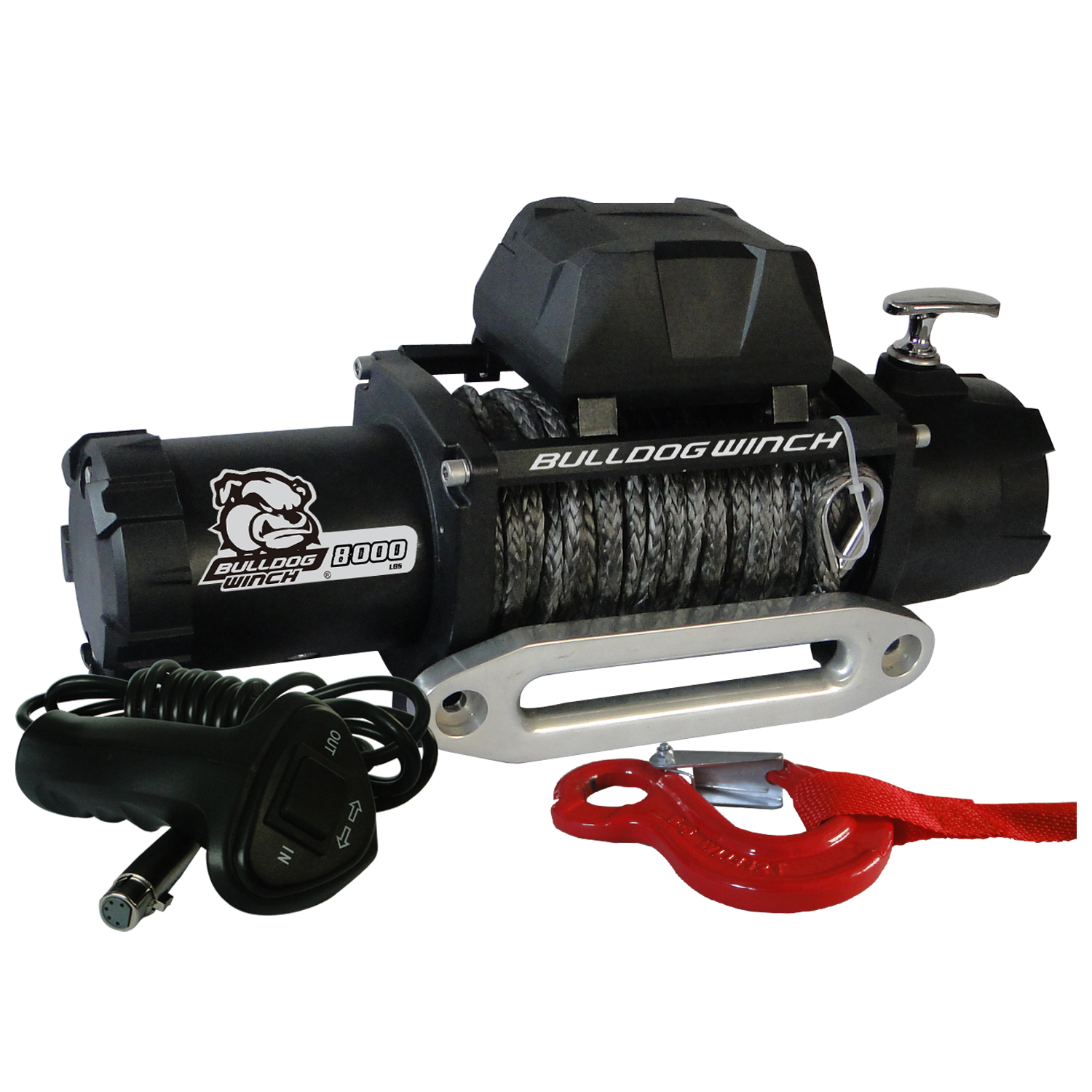 Bulldog Winch 8,000lb Winch w/ 100ft Synthetic Rope