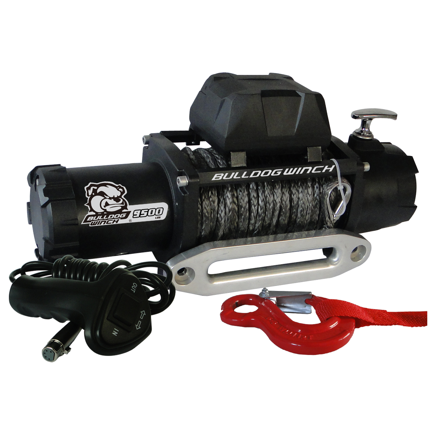 Bulldog Winch 9,500lb Winch w/ 100ft Synthetic Rope