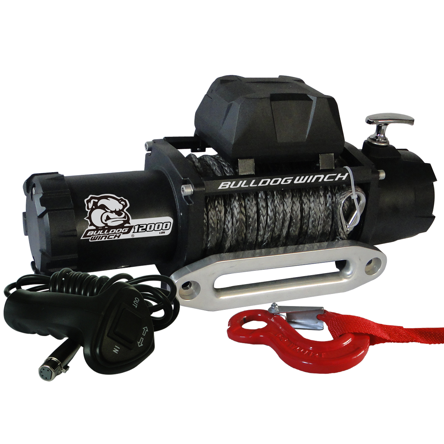12,00 LB Winch 100 Ft Synthetic Rope 6.0hp Series Wound Motor Roller Fairlead Bulldog Winch