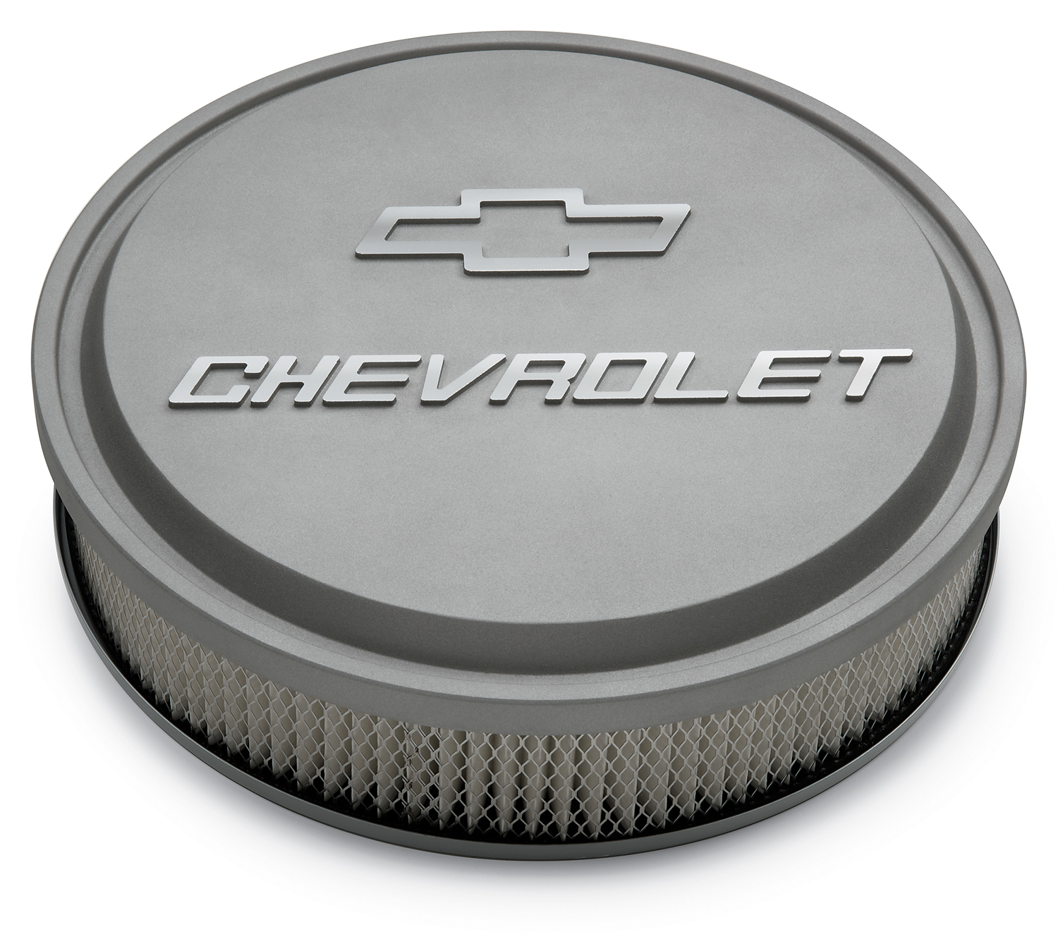 Proform 14 Inch Air Cleaner Kit Alunimum Gray Crinkle Raised Chevy and Bowtie Emblems Chevrolet Performance Parts
