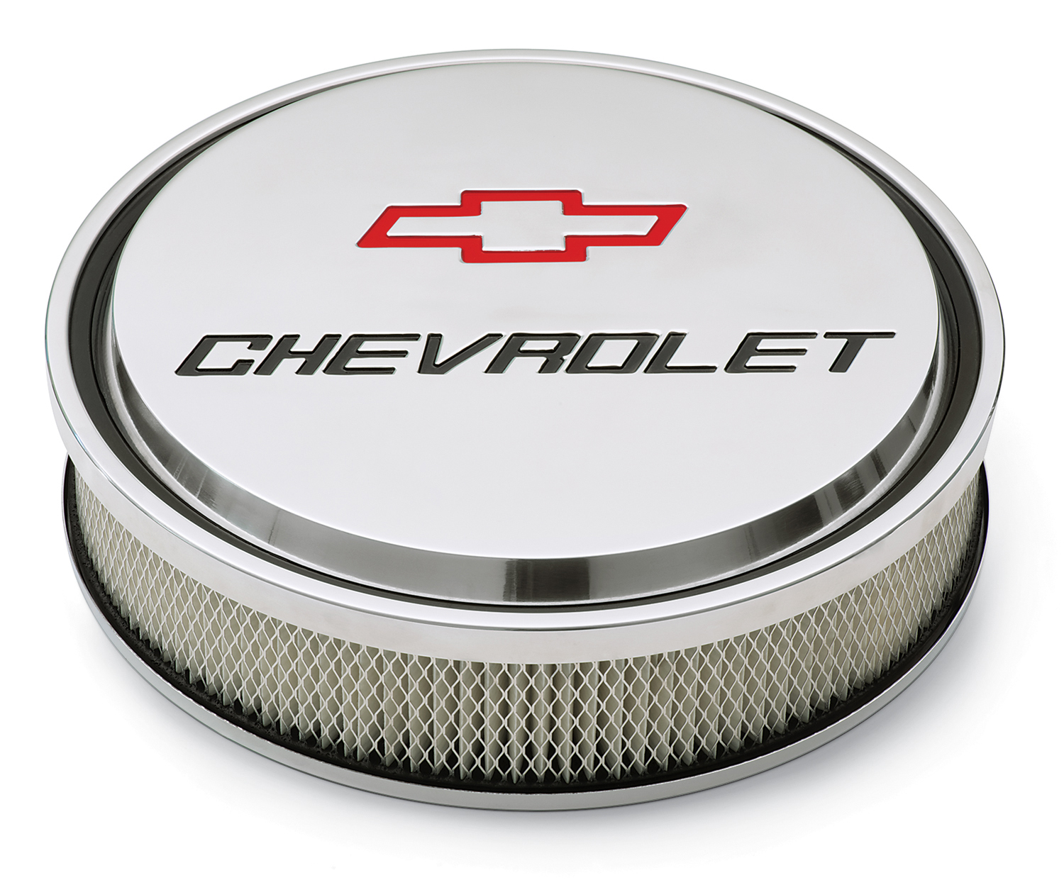 Proform 14 Inch Air Cleaner Kit Alunimum Polished Recessed Chevy and Bowtie Emblems Chevrolet Performance Parts