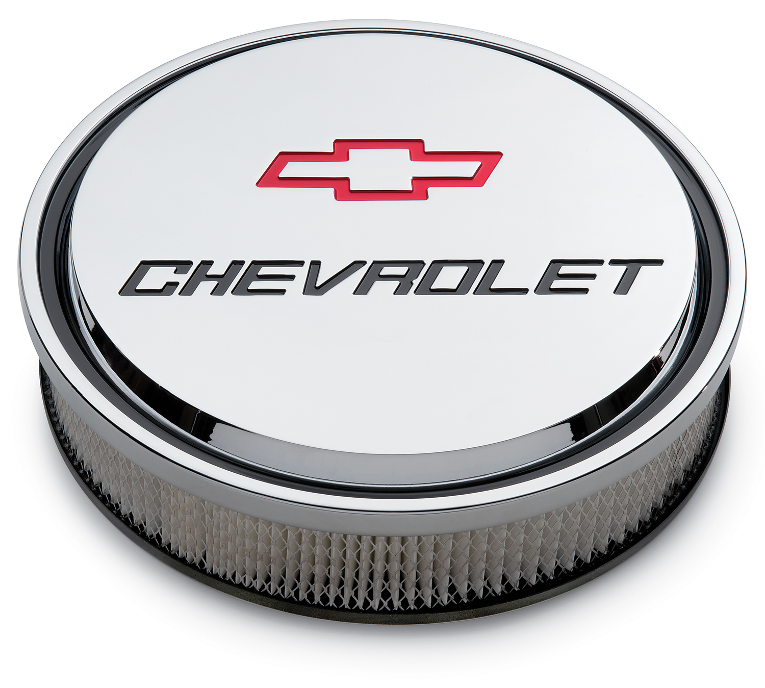 Proform 14 Inch Air Cleaner Kit Alunimum Chrome Recessed Chevy and Bowtie Emblems Chevrolet Performance Parts