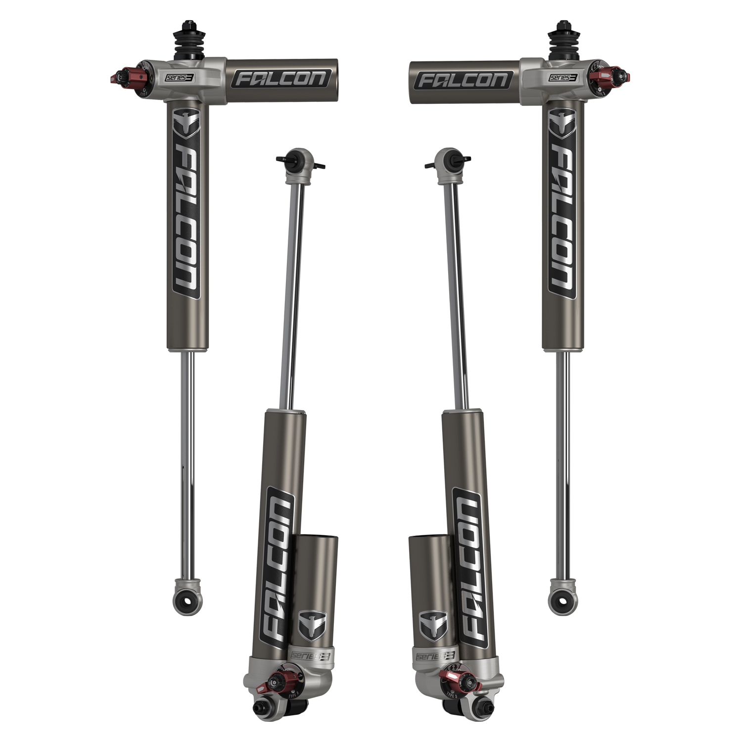 Teraflex Falcon Series 3.3 Adjustable Piggyback Shocks Front & Rear Kit 3-4.5in Lift - JK 2dr
