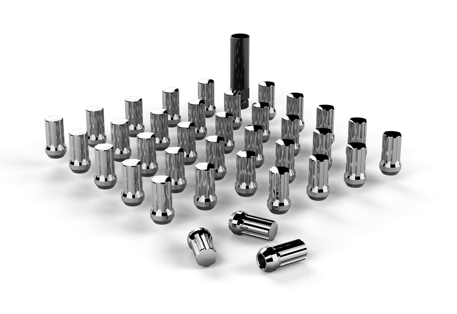 Jeep JK Spline Drive Lug Nut Kit 9/16 Inchx18 Chrome 36 pcs 07-18 Wrangler JK TeraFlex