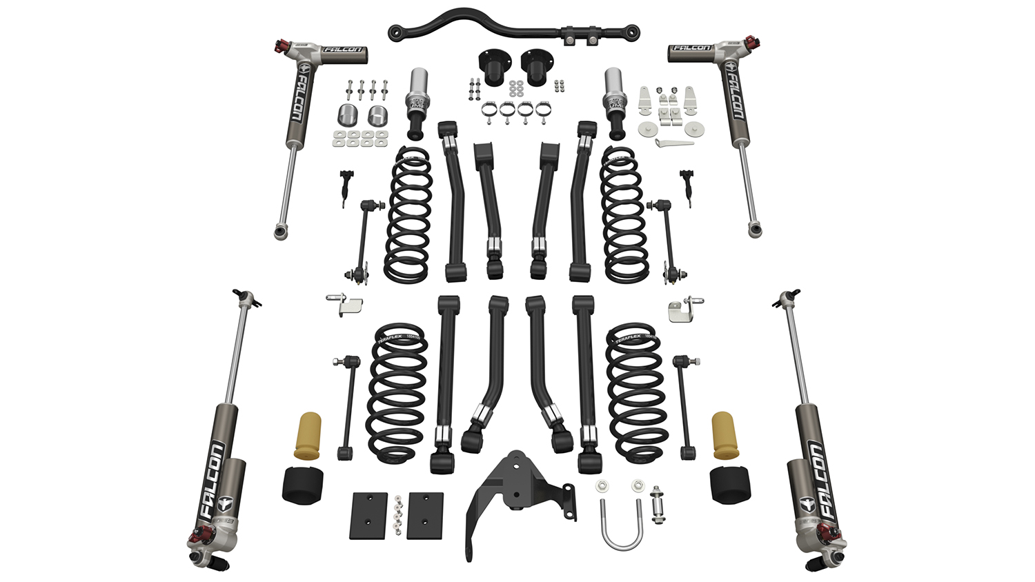 Teraflex Alpine RT3 Short Arm Lift Kit - w/Falcon 3.3 Adjust. Shocks - JK 4dr