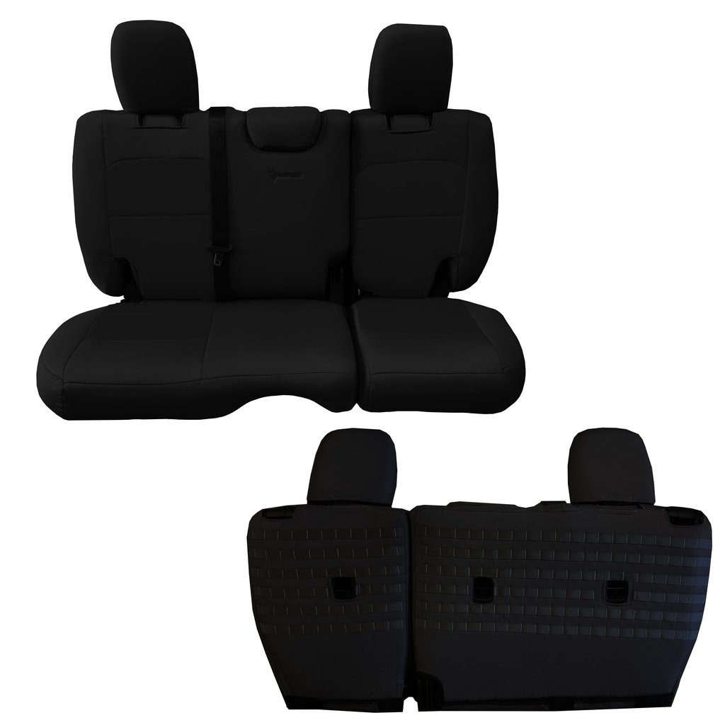 Bartact Tactical Rear Bench Seat Covers 4 Door 18-Present  JL No Fold Down Armrest Only Black/Black