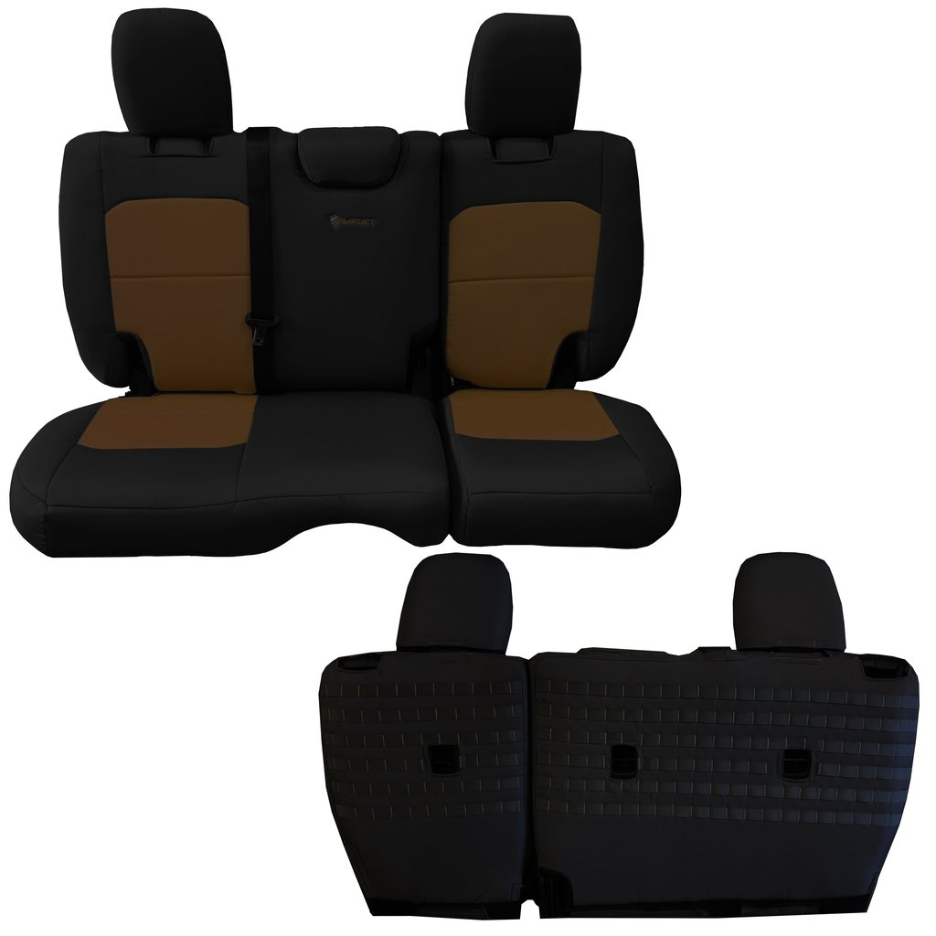 Bartact Tactical Rear Bench Seat Covers 4 Door 18-Present  JL No Fold Down Armrest Only Black/Coyote