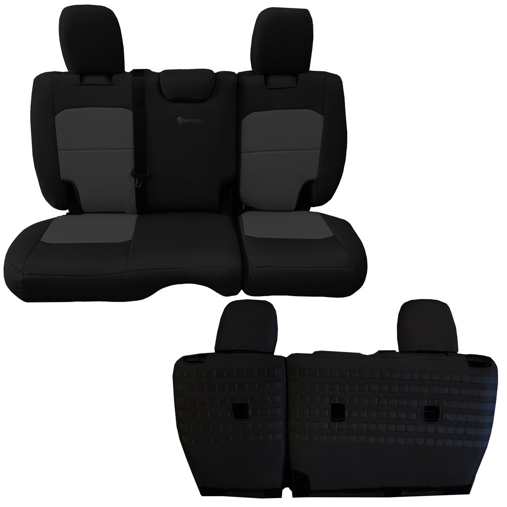 Bartact Tactical Rear Bench Seat Covers 4 Door 18-Present  JL No Fold Down Armrest Only Black/Gray
